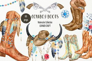 Watercolor Cowboy Boots Collection