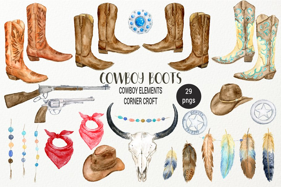 1bb8ba227613 Watercolor Cowboy Boots Collection ~ Illustrations ~ Creative Market