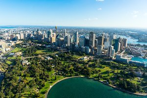 Aerial view Sydney Central Business Districs and Royal Botanic G