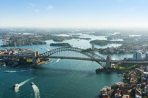 Aerial photo of Sydney Harbour and Harbour bridge
