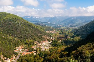 Aerial view of town village near Terni in Umbria, Italy