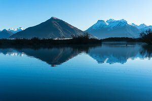 Glenorchy lagoon landscape with snow covered mountains