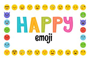 Happy emoji. Emoticons bundle