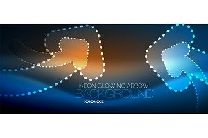 Neon techno arrow, digital abstract background