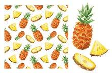 Watercolor pineapple illustration
