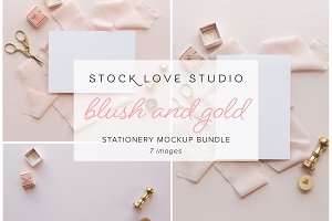 Blush Gold Stationery Mockup Bundle