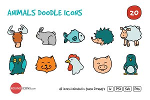 Animals Doodle Icons Set