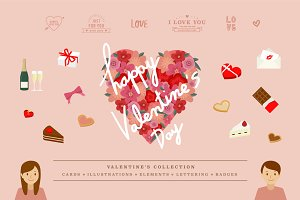 Illustrations of Valentine's items