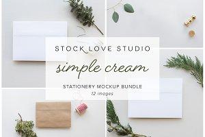 Simple Cream Stationery Mockup