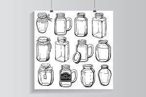 Drawn jar set.
