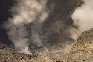 Active volcano with a crater. Gunung Bromo, Jawa, Indonesia.