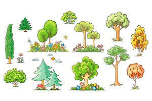 Set of hand-drawn trees