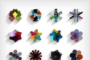 3d flat geometric abstract designs