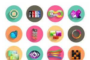 Colorful circle infographics set