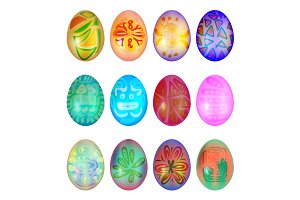Set of colorful easter egg
