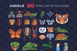 Jungle animal pixel art icons