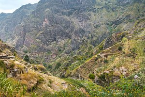 Panoramic view of the fertile ravine valley with its agricultural terraces on Santa Antao island in Cape Verde