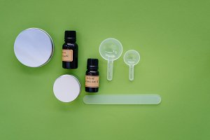 Flat lay of homemade  body and skin care creams