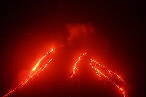 Night view of eruption volcano