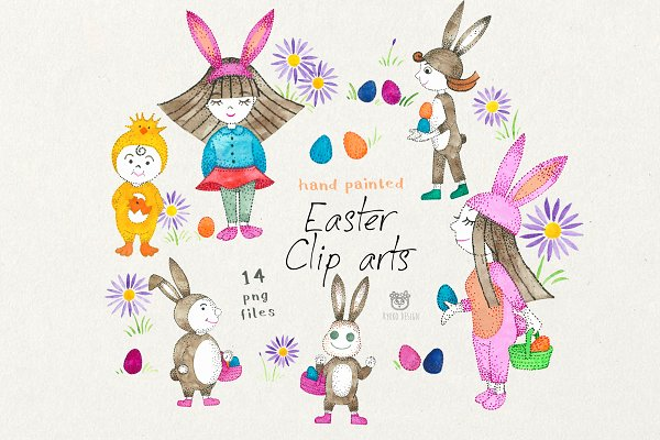 Easter Children Eggs and Bunnies