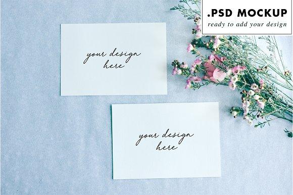 Wedding invitations mockup with flow