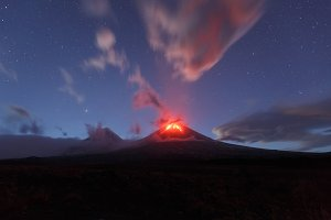 Night view eruption active volcano