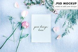 Feminine wedding stationery mockup
