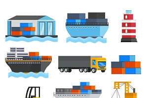 Sea Port Orthogonal Icons Set