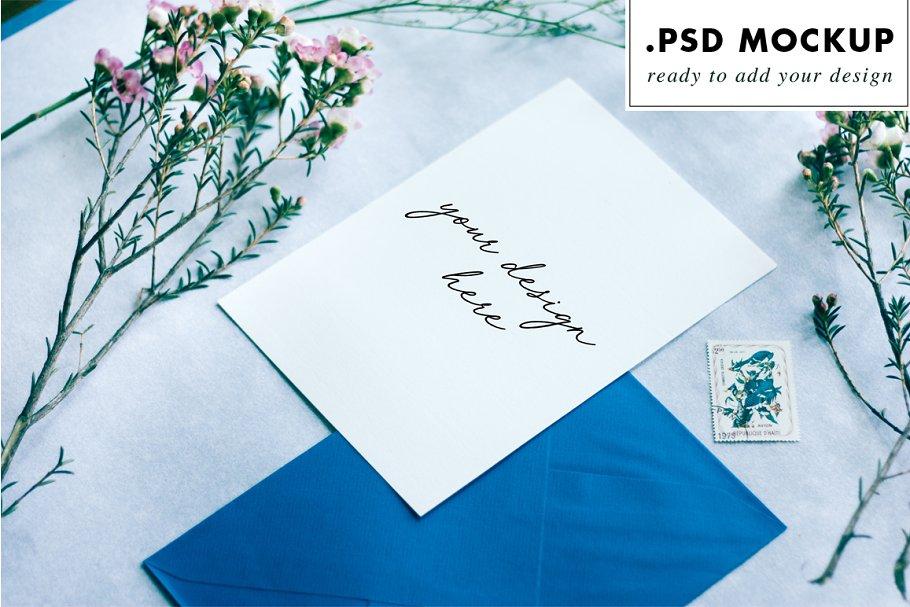 Blue envelope wedding card mockup