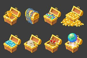 Treasure Chests Isometric Set