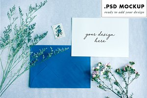 Wedding suite mockup blue envelope