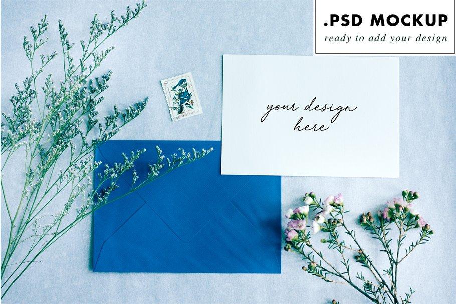 Wedding suite mockup blue envelope
