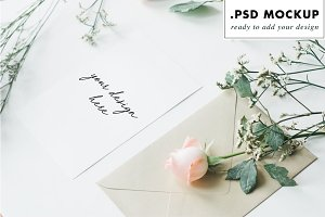 Gold envelope wedding card mockup