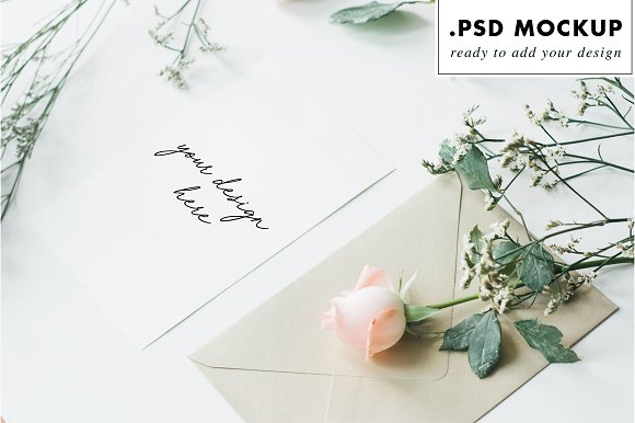 Gold envelope wedding card mockup