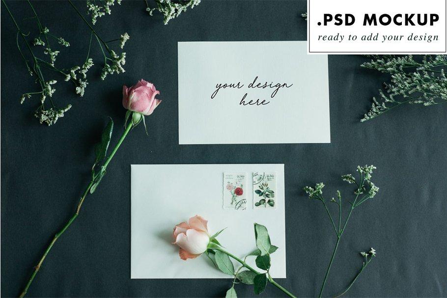 Dark wedding card & envelope mockup