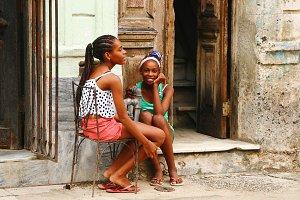 Teenage girls talk sitting
