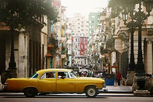 Retro yellow car