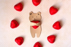 valentines day card with handmade bear as lovers