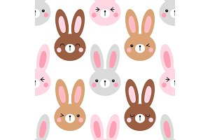 Cute Easter seamless pattern design with funny cartoon characters of emoji bunnies