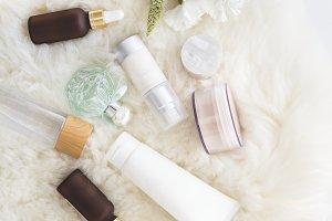 Facial serum cream bottles