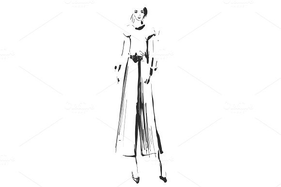 Beautiful Young Girl For Design Fashion Model Sketch Drawing