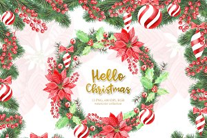 Watercolor Christmas Wreath, Clipart