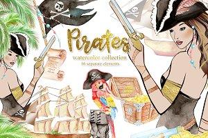 Watercolor Sexy Pirates