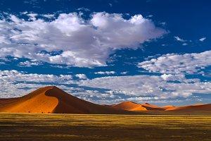 Deep shadows on Sossusvlei dunes sun