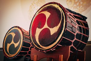 Taiko drums o-kedo on scene background. Musical instrument of Asia