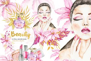 Watercolor Beauty Clipart, Make Up