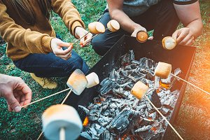 Company of friends by campfire making fried marshmallows