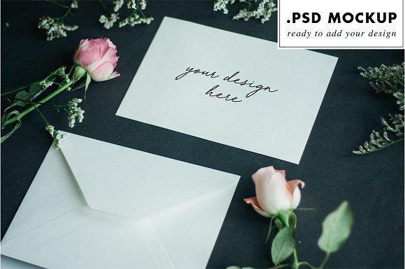 Wedding invitation mockup + flowers