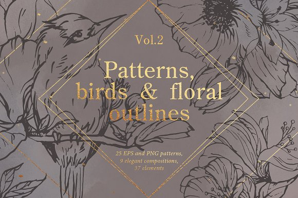 Birds outlines & floral patterns