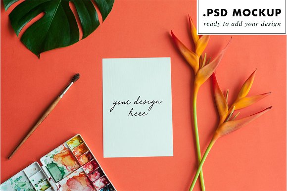 Tropical wedding invitation mockup